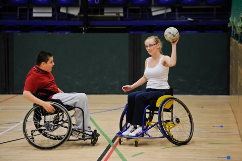 People playing wheelchair handball