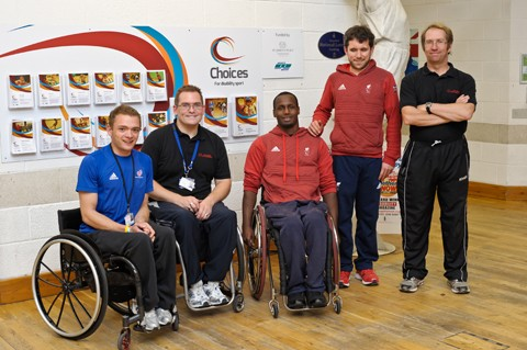 Paralympians Abdi Jama (centre) and Roy Turnham (2nd right) support the Choices Programme