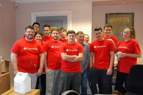 Staff from Santander help redecorate reception at Greenbank College