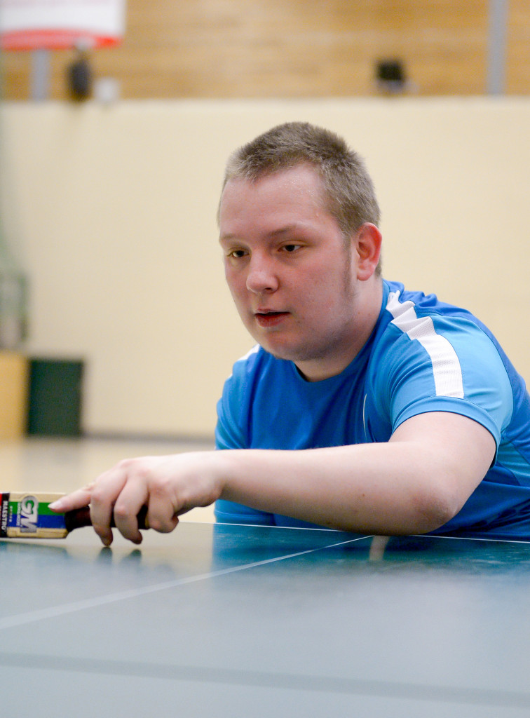 Foundation Degree student, Jordon, from Greenbank College learning about inclusive sport development