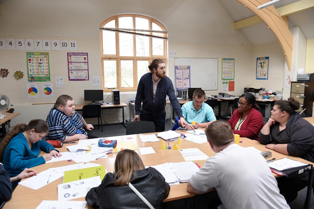 Maths class at Greenbank College