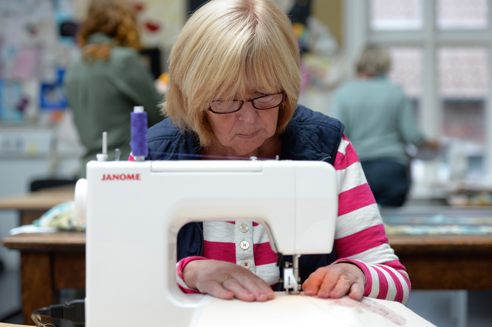 Sewing student at Greenbank College