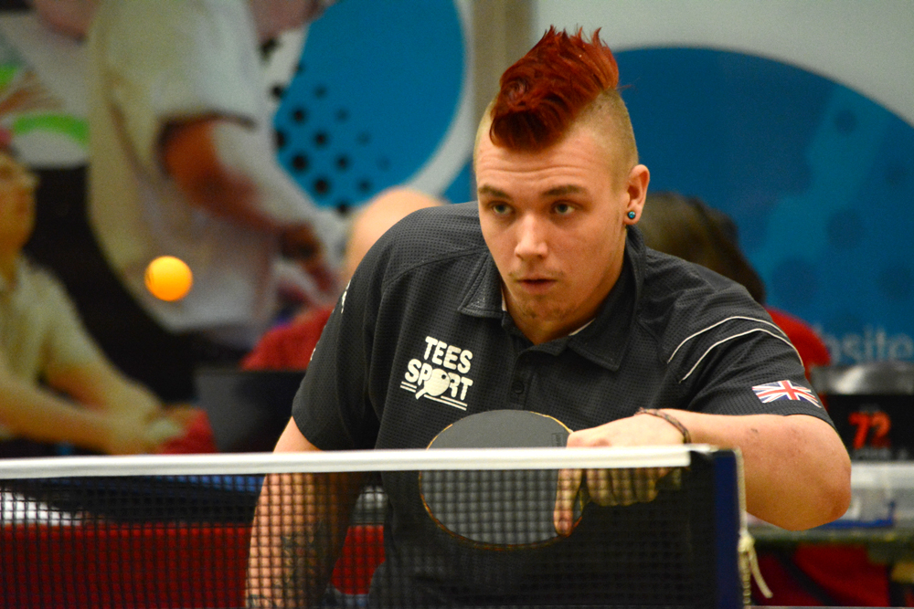 Paralympian Jack Hunter-Spivey taking part in the Table Tennis Grand Prix in December 2014