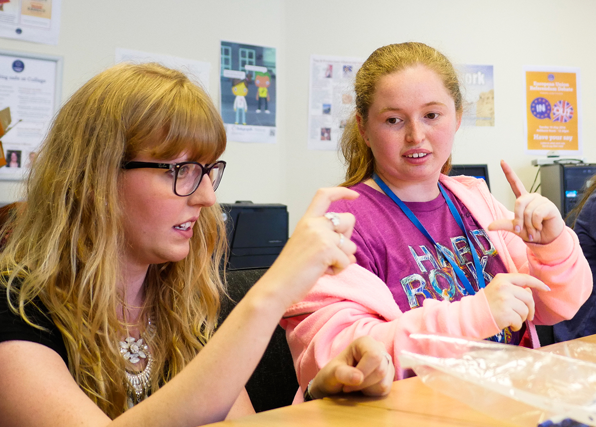 Greenbank College student learning British Sign Language (BSL) as part of her study programme