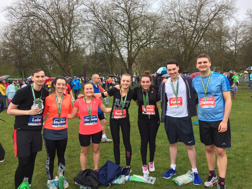 Deloitte Liverpool team of runners fundraising in Liverpool Spring 10k in Sefton Park