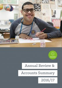 Cover of the Greenbank Annual Review & Accounts Summary 2016/17 brochure