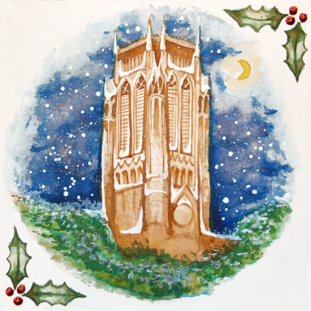 Watercolour in a circular shape of the Anglican Cathedral tower in Liverpool set against a night sky