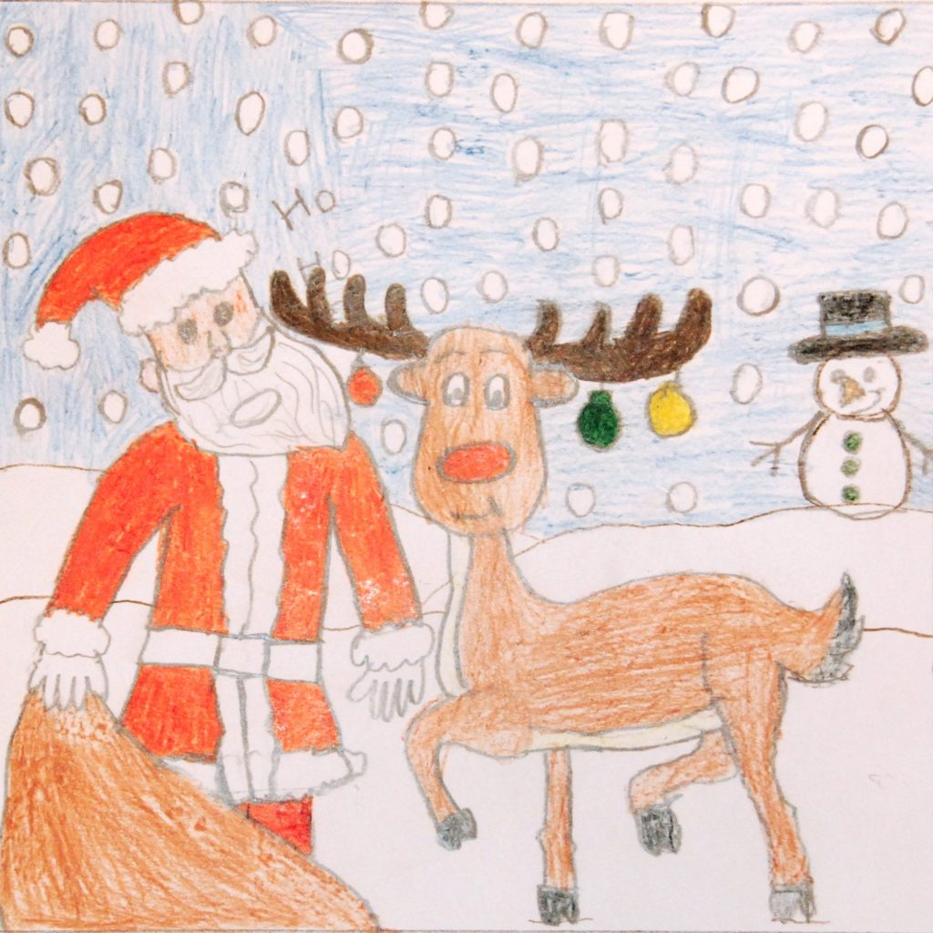 snowy scene with Father Christmas and Rudolf