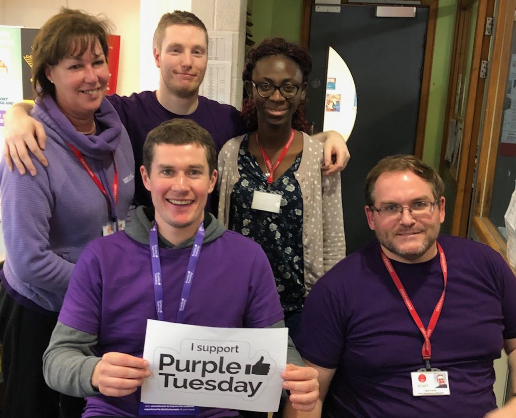 Five members of staff at Greenbank Sports Academy supporting Purple Tuesday